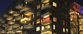 Apartment block at night